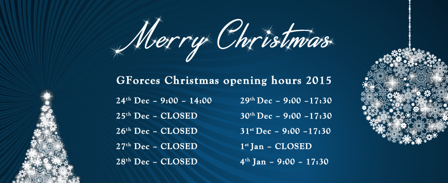 GForces Christmas Opening Hours 2015