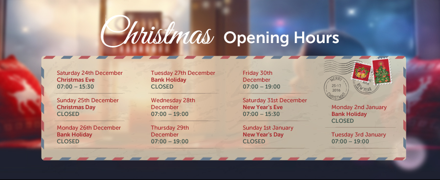 Christmas is coming, so be of good cheer – here are the hours we're open this year
