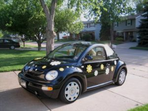 Black VW Beetle with Daisy pattern