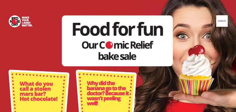 The GForces Comic Relief bake sale.