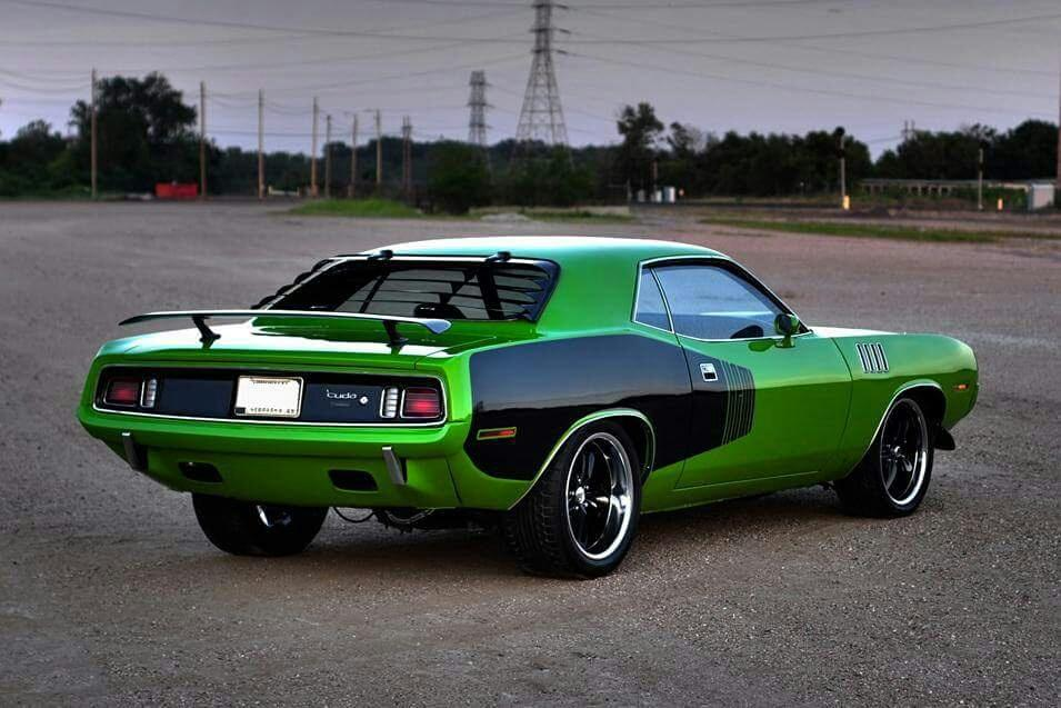 1970 Plymouth Barracuda, in Lime Green with Black icons.