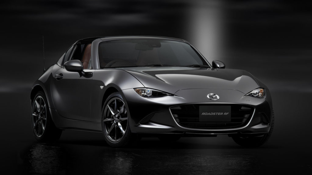 Grey Mazda MX-5 RF in studio photoshoot.
