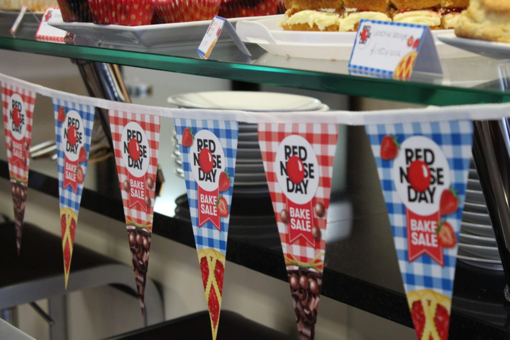 Our bakes and bunting ready for our Comic Relief bake sale.