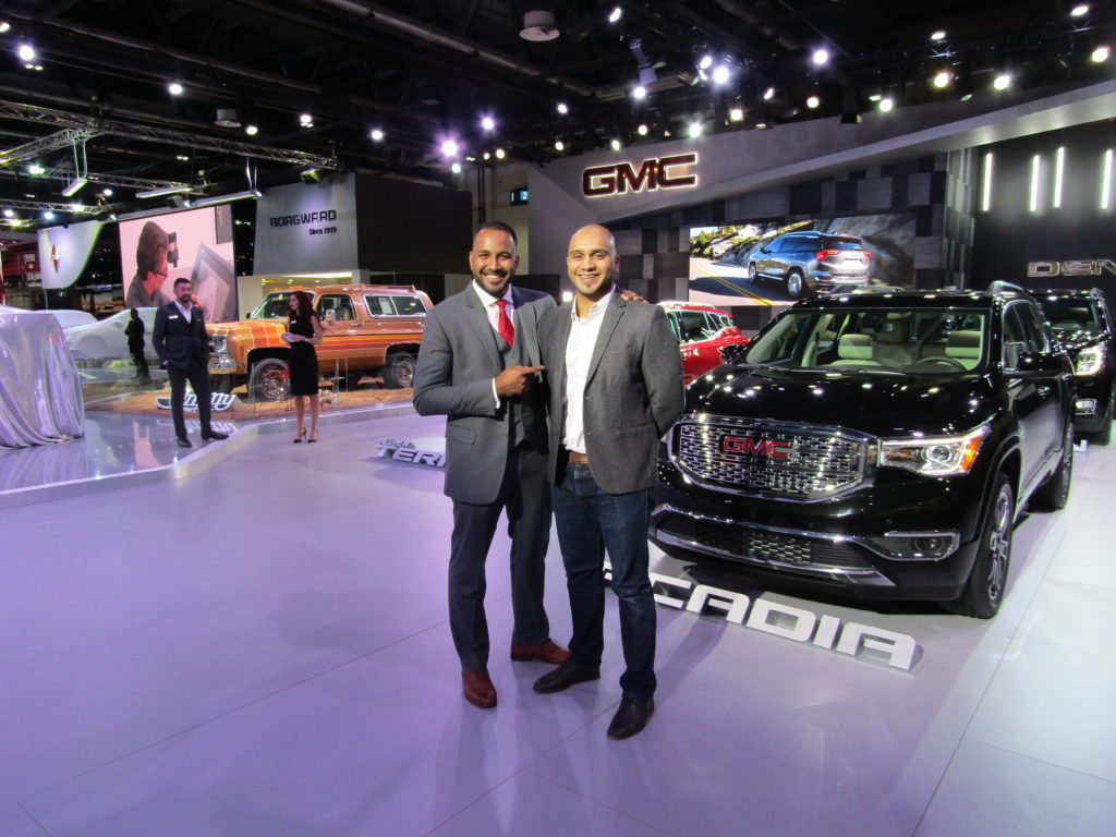 The GMC stand at the Dubai International Motor Show 2017